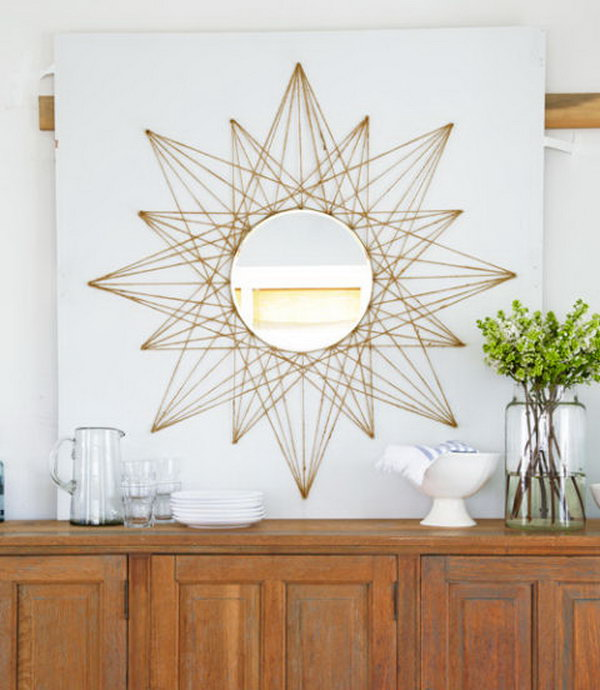 Sunburst Mirror String Art. See the tutorial