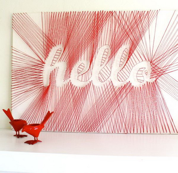 "DIY ""Hello"" String Art. See how to make it"