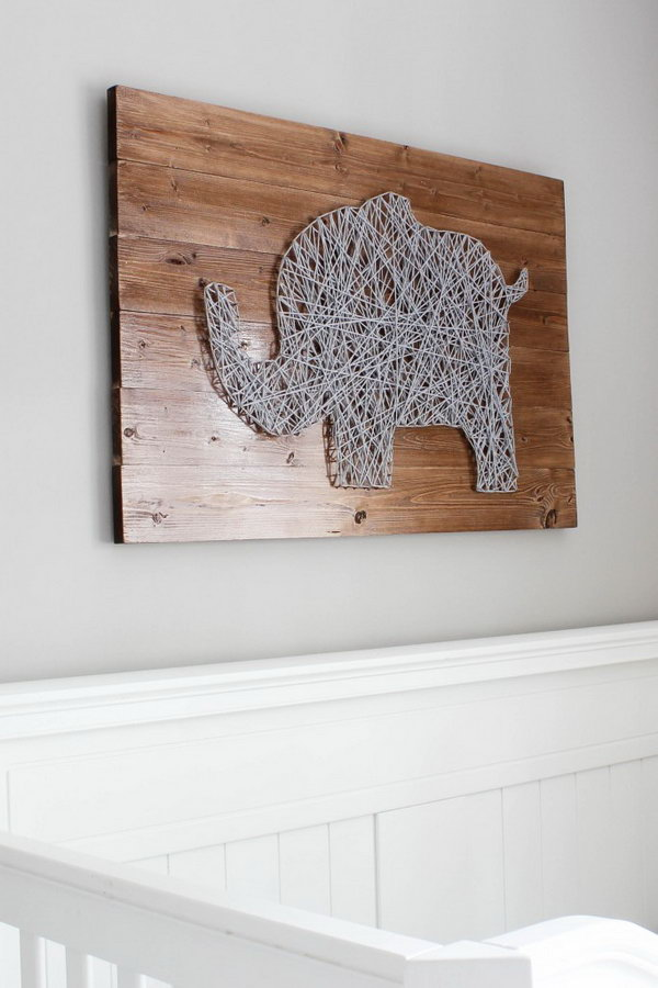 DIY Elephant Nursery String Art. See the tutorial