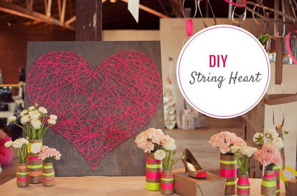 DIY Heart String Art. See the steps