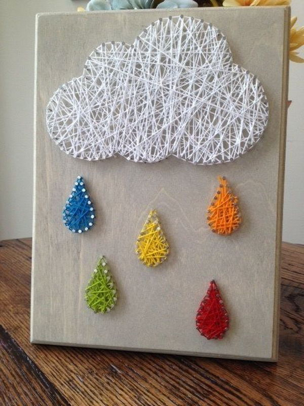 25 diy string art ideas tutorials for your home decor rain cloud nail and string art prinsesfo Gallery