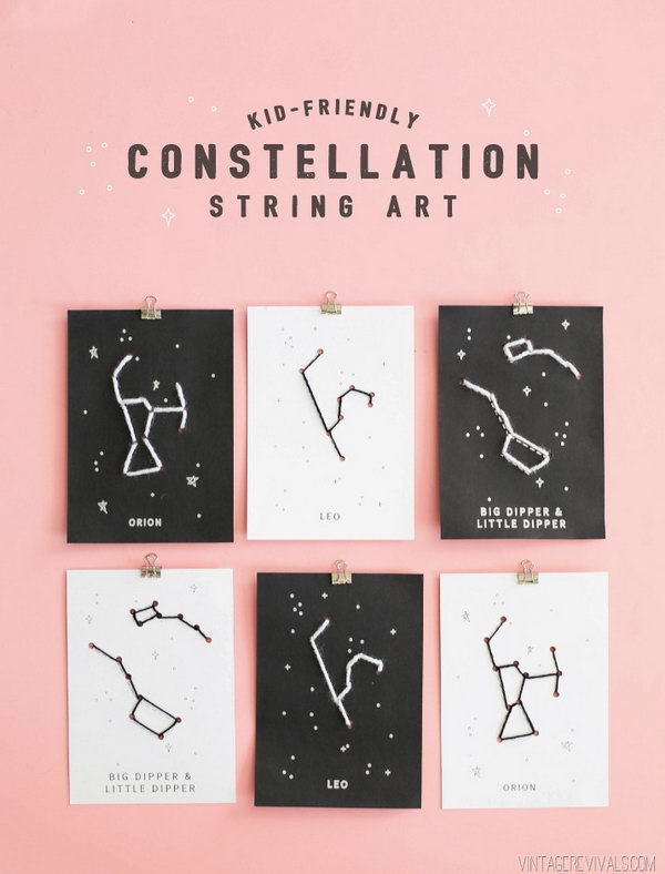 Kid Friendly Constellation String Art. See how