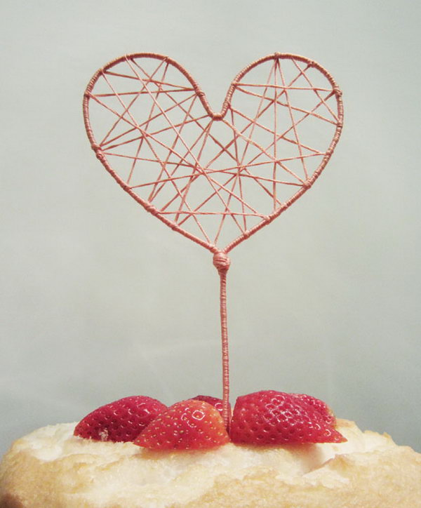 String Art Heart Cake Topper. Get the tutorial