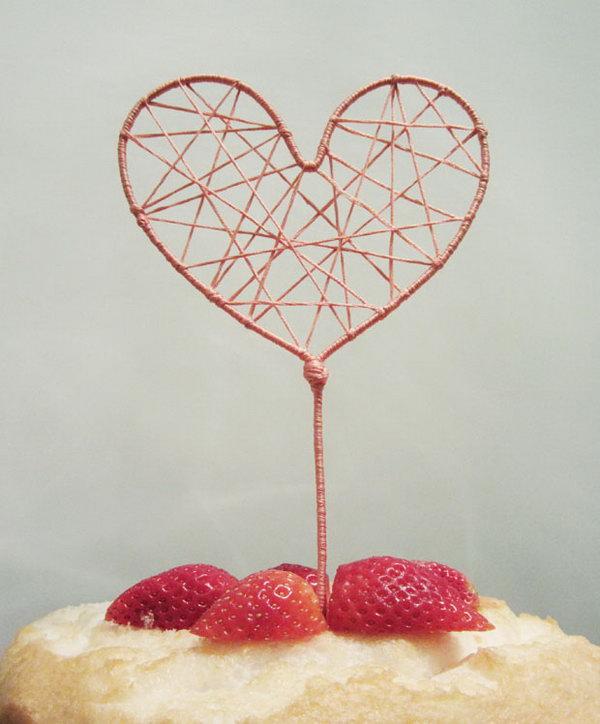 String Art Heart Cake Topper. Get the tutorial