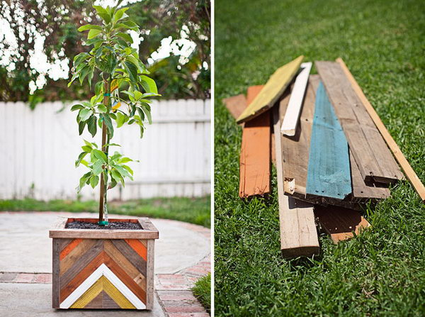 Chevron Wood Plant Box. Get the tutorial