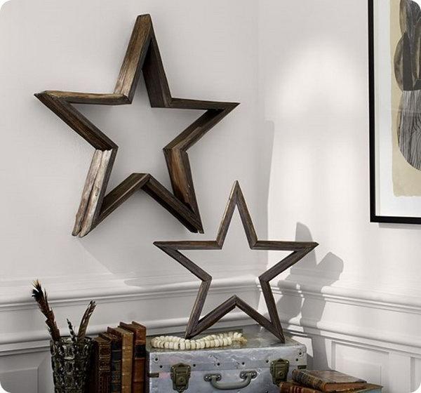 DIY Wood Wall Stars. See more