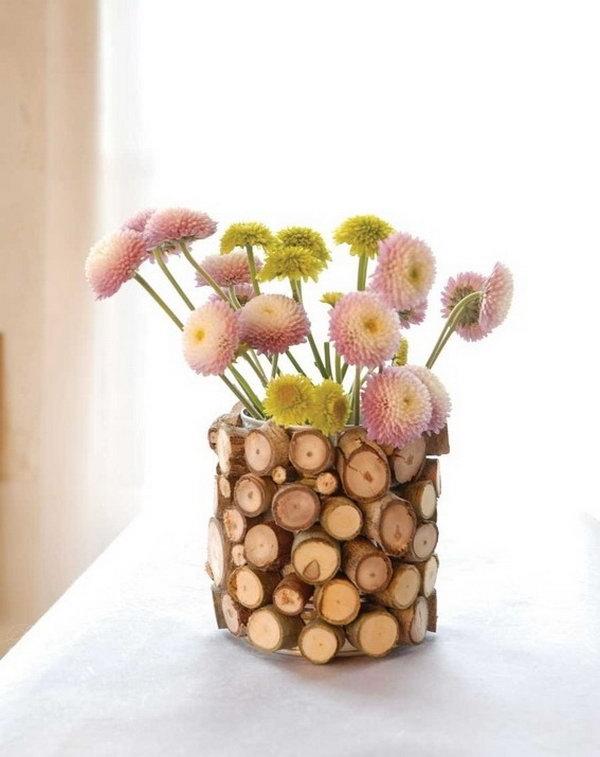 DIY Wood Flower Vase. Get the tutorial