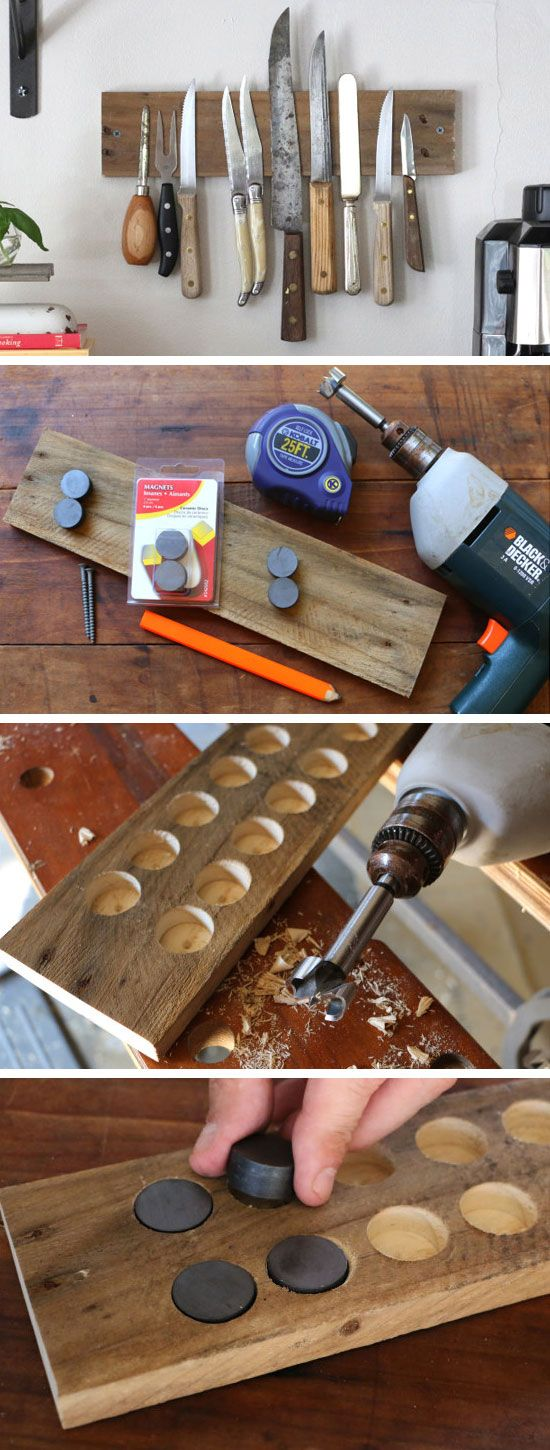 DIY Rustic Wall Rack for Kitchen Knives