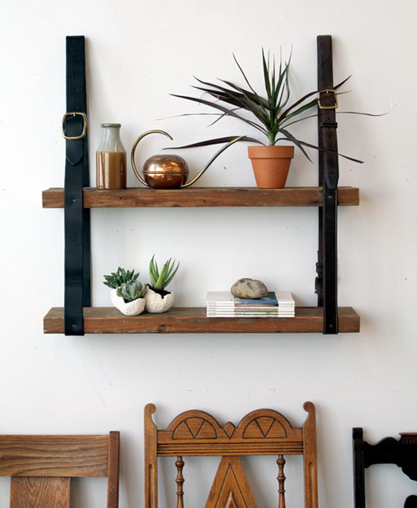 Leather and Wood Shelf. See the steps