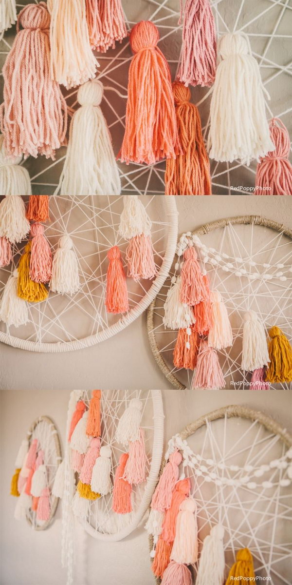 DIY-able Giant Dream Catchers. Most girls who hang dreamcatchers in their rooms are quite spiritual and believe that the nice dreams will come near them and the bad spirits will go away. See more beautiful images