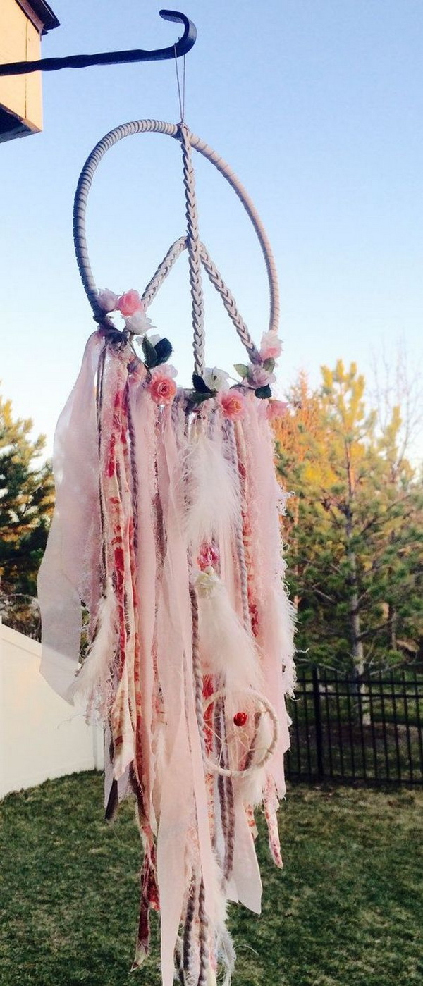 Beautiful Blush Pink Dream Catcher .