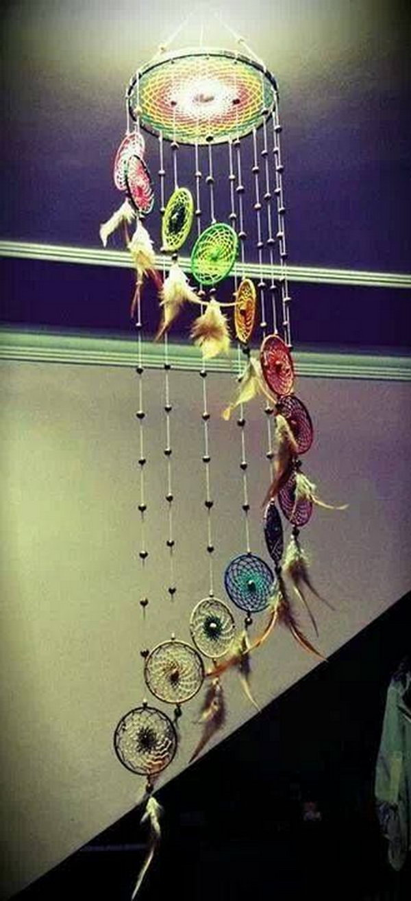 Rainbow with Beads Dream catcher Mobile .
