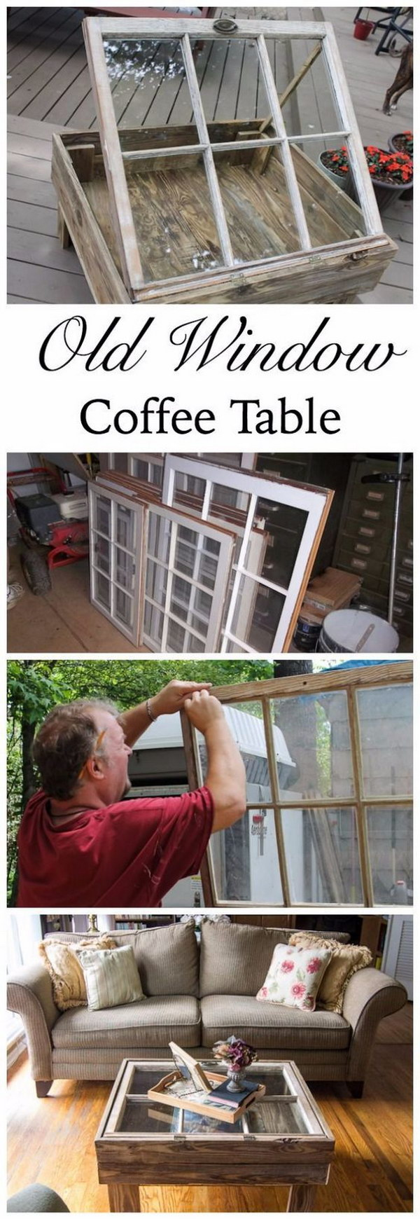 A DIY Coffee Table With Old Window.