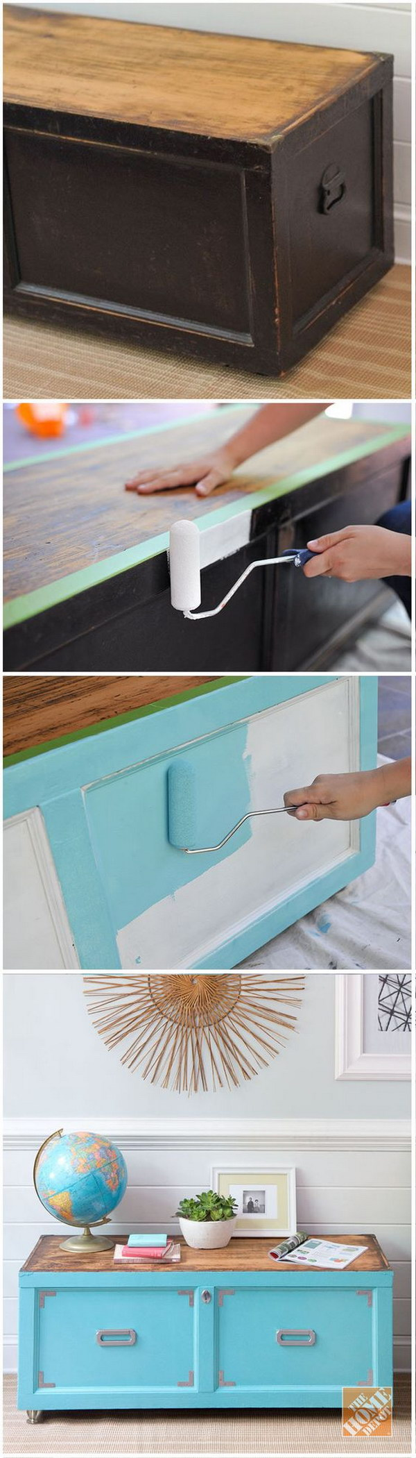 Paint and New Hardware Transform Old Wooden Chest.