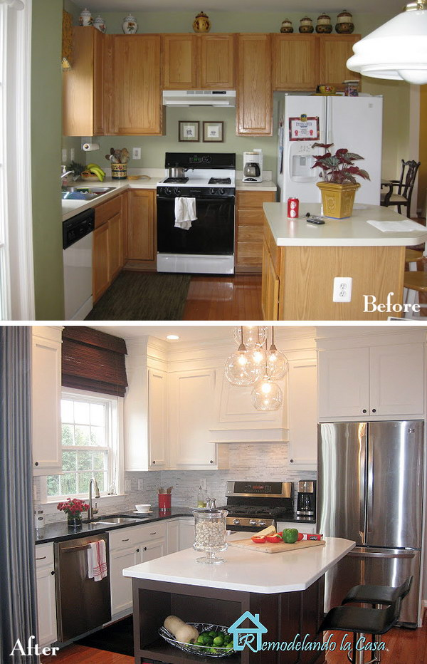 Pretty before and after kitchen makeovers for Kitchen cupboard makeover before and after