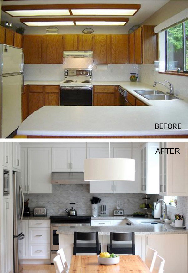 Kitchen Before and After: A Modern White Kitchen.