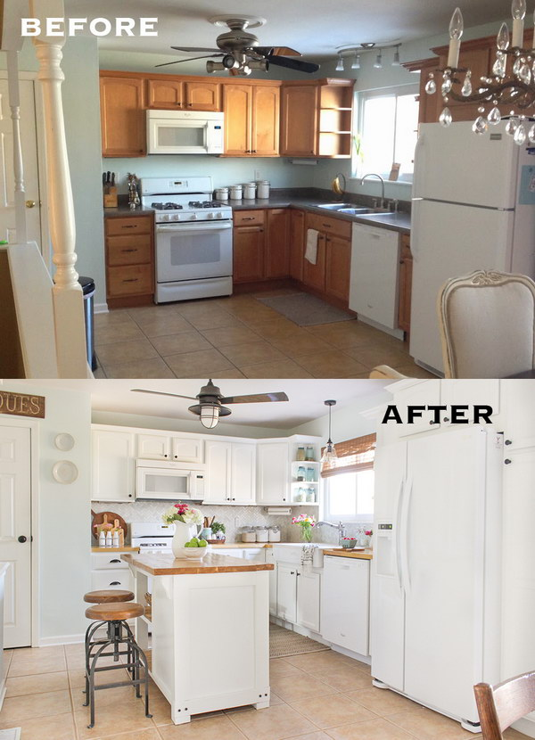 Reveal of a Farmhouse Style Kitchen Makeover on a Budget.