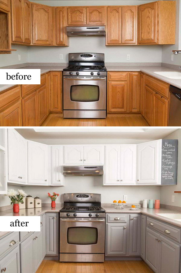 Pretty before and after kitchen makeovers for How can i update my kitchen cabinets on a budget