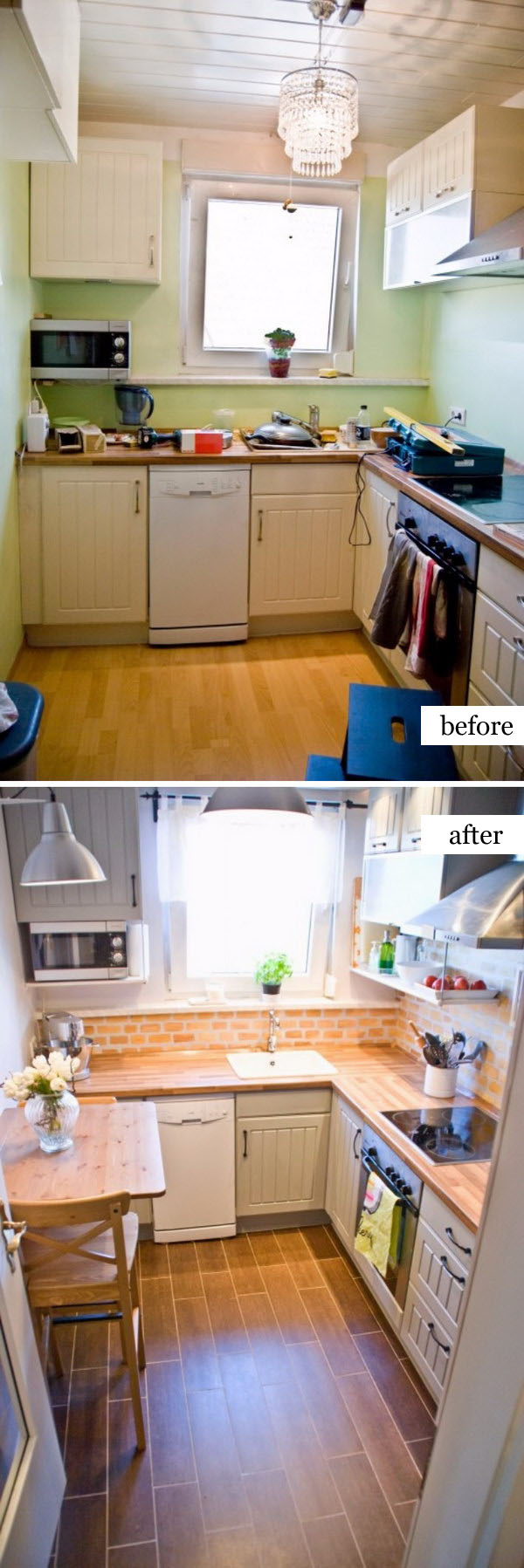 Tiny Kitchen Renovation with Faux Painted Brick Backsplash and Wood Tile Floors.