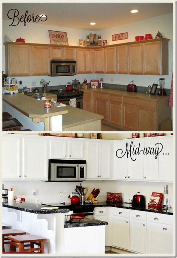 Kitchen Makeover: Faux Granite Countertop and Bright White Painted Cabinets.