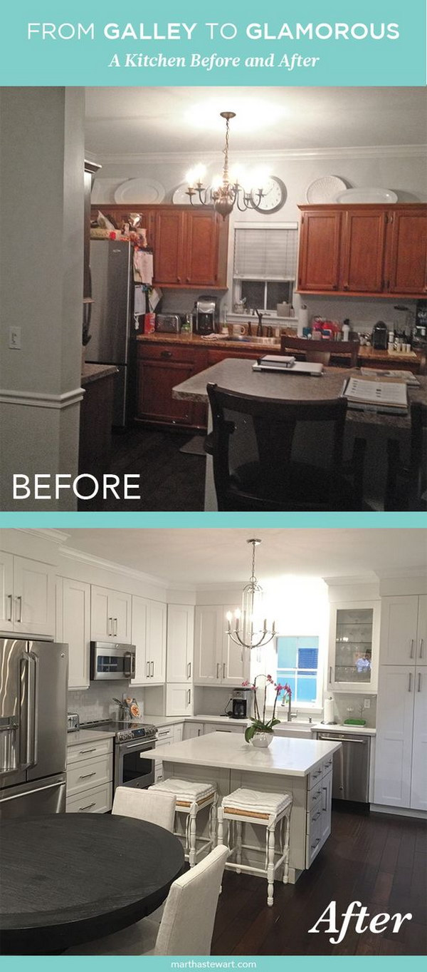 Pretty before and after kitchen makeovers for Galley kitchen makeovers before and after