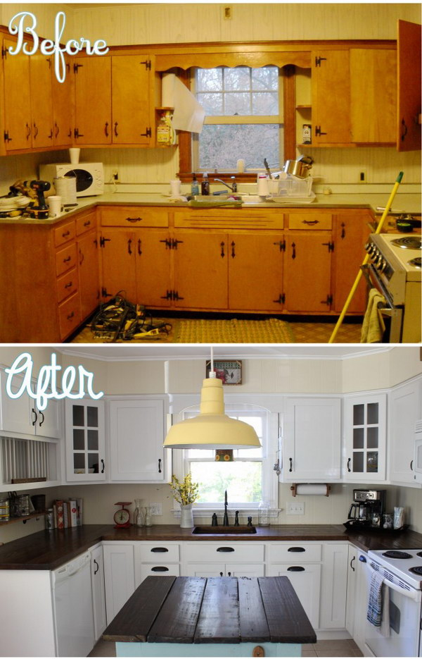 Pretty before and after kitchen makeovers for Kitchen remodel ideas for older homes