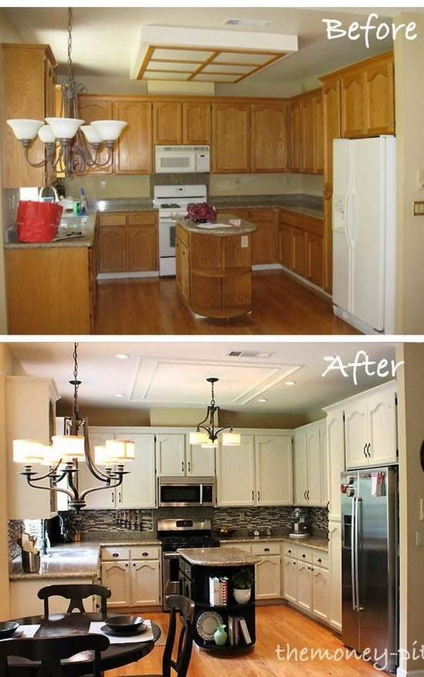 Paint, New Backsplash and Light Fixtures For A whole New look.