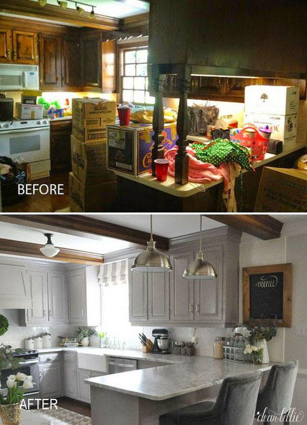 Kitchen Before & After:  Change Color Palette to Lighten up.