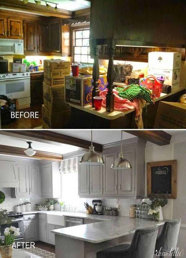 Kitchen Before & After:  Change Color Palette to Lighten up.