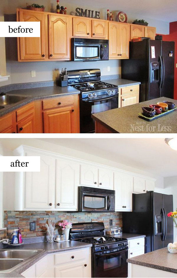 Pretty before and after kitchen makeovers for Kitchen remodel before after
