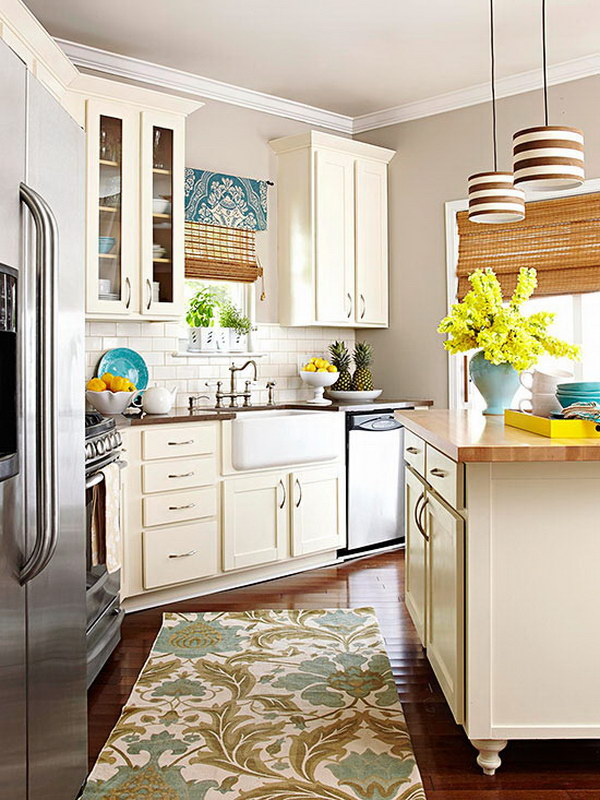 Cream-colored Kitchen Cabinets.