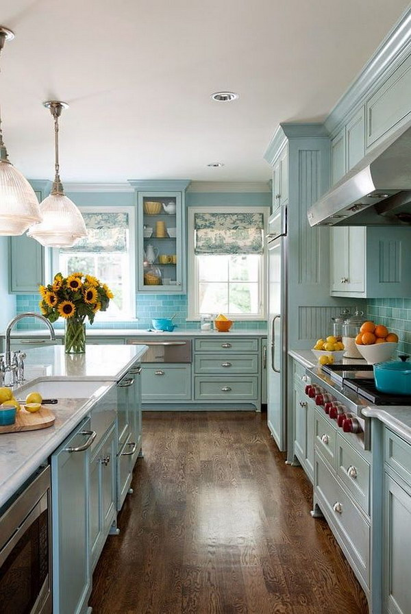 All Pastel Blue Kitchen Design.