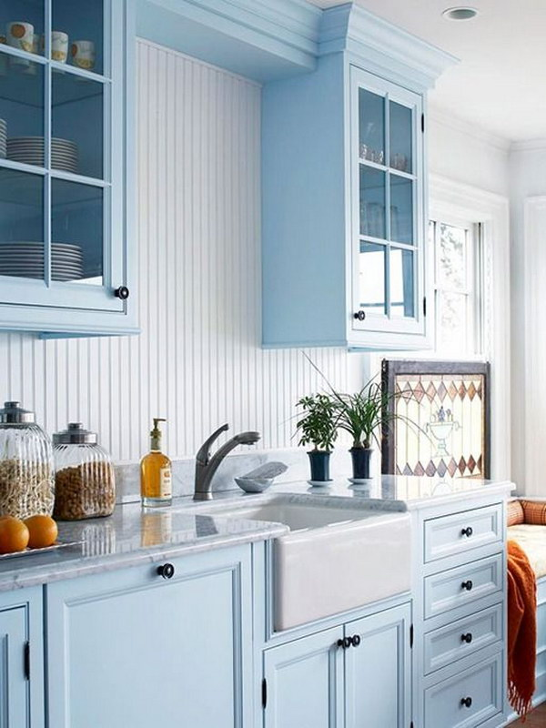 80 cool kitchen cabinet paint color ideas for Blue kitchen paint colors