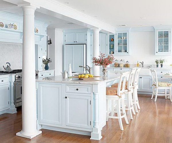 Pale Blue Kitchen Cabinets.