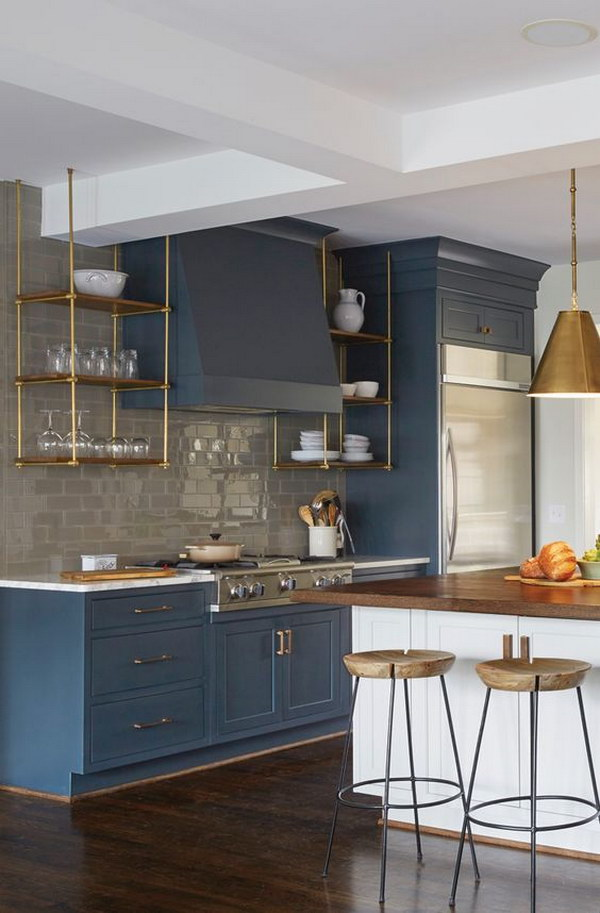 Shelving Stove Paneling Slate Blue Cabinets with Gold Hardware.