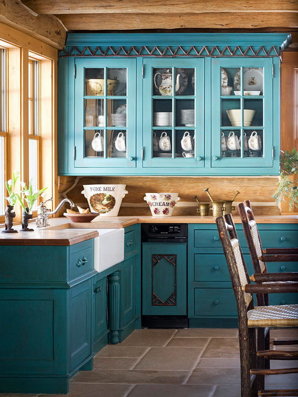 Turquoise Painted Kitchen Cabinets