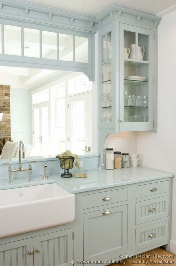 ice blue kitchen cabinets with farm sink - Kitchen Cabinet Paint Colors