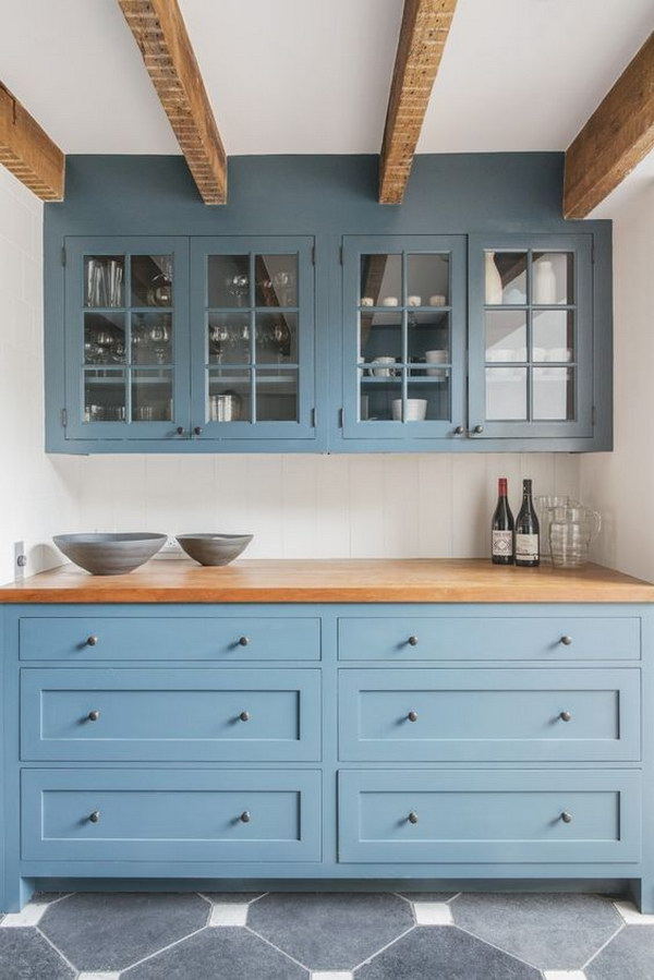 Dusty Blue Shaker Style Kitchen Cabinets.