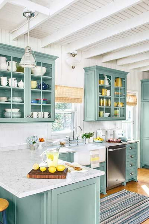 Stratton Blue Kitchen Cabinets With Marble Countertops