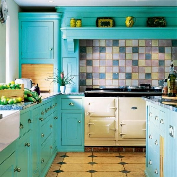 Ocean Blue Kitchen Cabinets