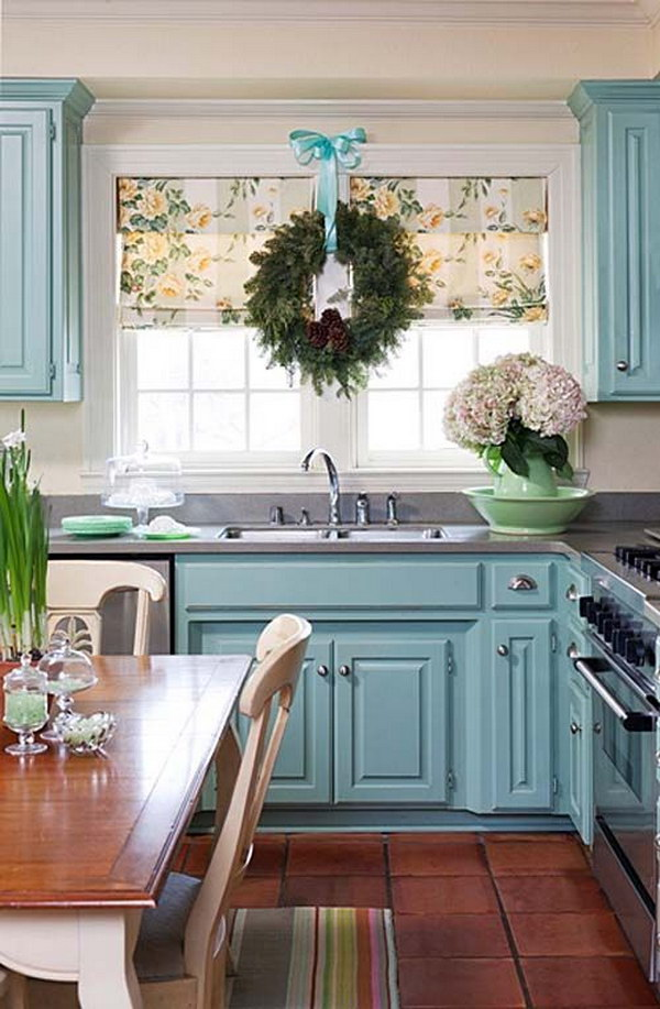 Light Blue Painted Kitchen Cabinets.