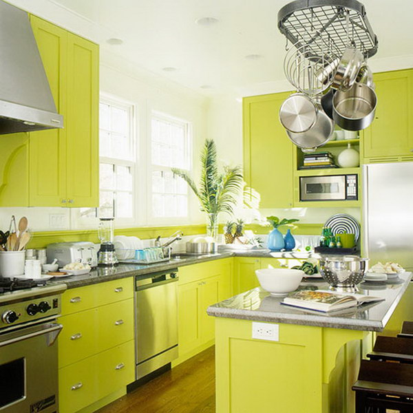 Green Painted Kitchen Cabinets: 80+ Cool Kitchen Cabinet Paint Color Ideas