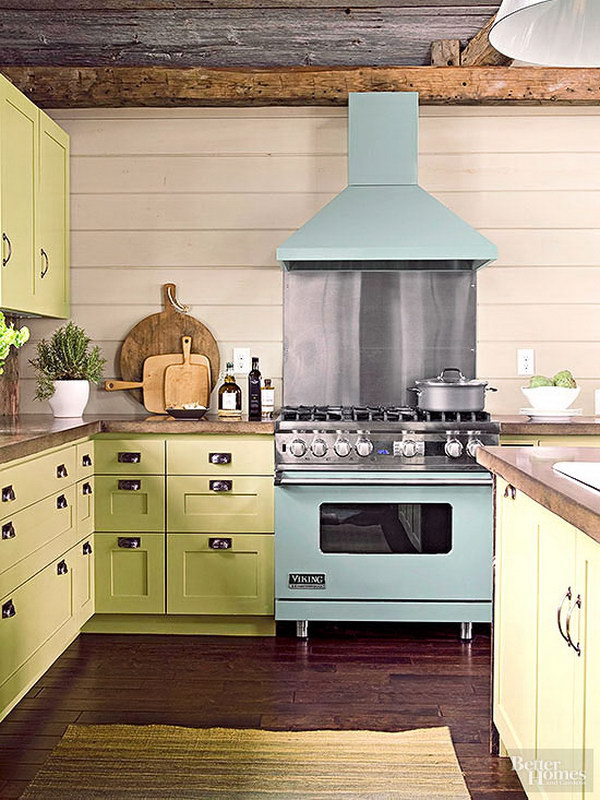 Pale Yellow-Green Celadon Cabinetry in a Casual Cottage Kitchen.
