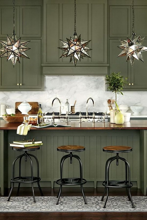 Olive Green Painted Kitchen Cabinets.