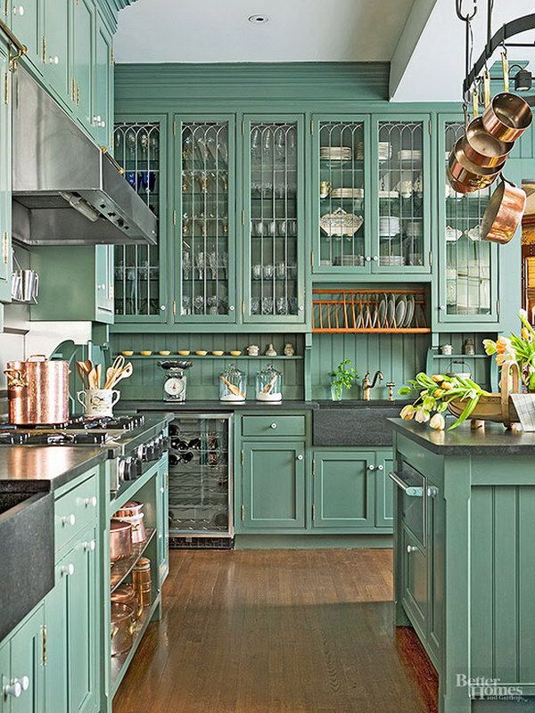 Classic Victorian Green Painted Kitchen Cabinets