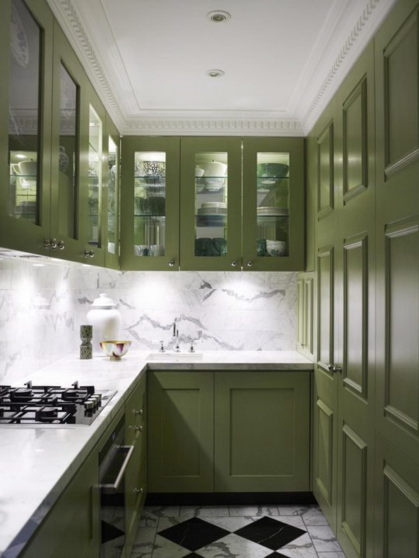 Dark Green Tall Kitchen Cabinets.