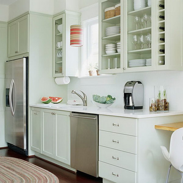 Light Green Painted Cabinets For Small Kitchens