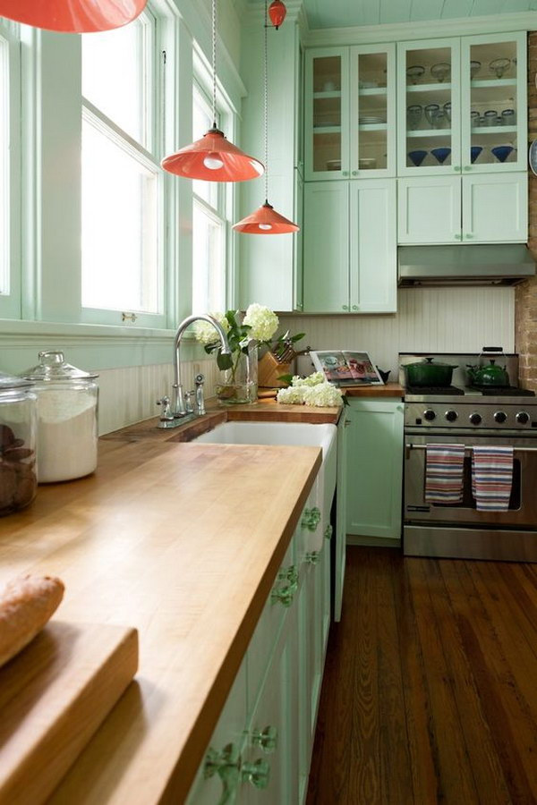 Mint Green Paint for Kitchen Cabinets.