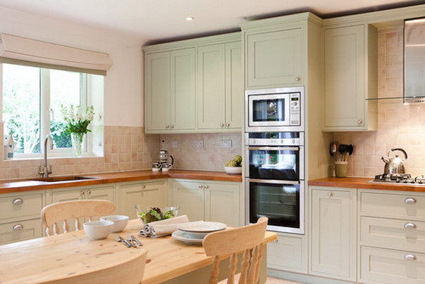 Yellow-green Painted Kitchen Cabinets.