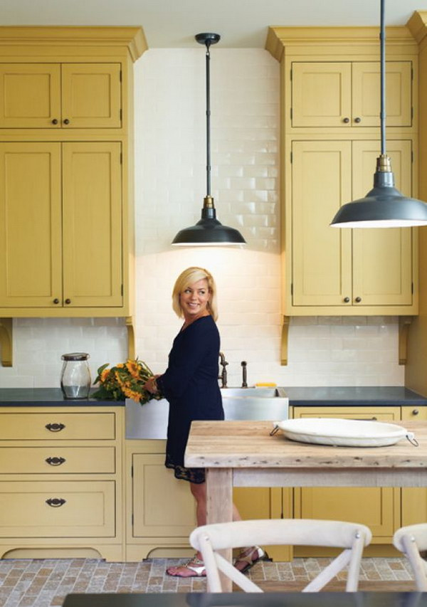 Mustard Yellow Kitchen Cabinets.